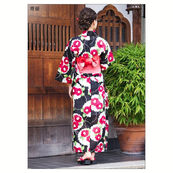 新作 浴衣 2018 レディース 京都本格 女性浴衣4点フルセット(ゆかた 平帯 下駄 着付マニュアル本) 墨色地に雪輪牡丹寄せ|dita|14