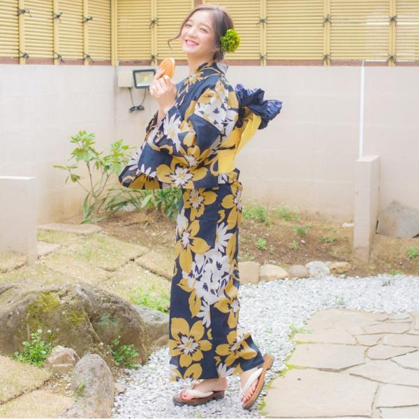 浴衣 新作 2018 京都本格 女性浴衣4点フルセット(ゆかた 作り帯 下駄 着付マニュアル本) 淡い水彩絢爛 和装 帯 紺 水色|dita|06