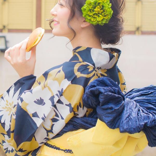 浴衣 新作 2018 京都本格 女性浴衣4点フルセット(ゆかた 作り帯 下駄 着付マニュアル本) 淡い水彩絢爛 和装 帯 紺 水色|dita|10