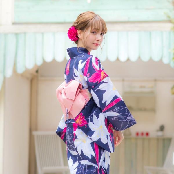 浴衣 2018 レトロ レディース 京都本格 女性浴衣4点フルセット(ゆかた・つくり帯・下駄・着付け本) ガーリーレトロ  可愛い レトロ|dita|12