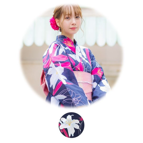 浴衣 2018 レトロ レディース 京都本格 女性浴衣4点フルセット(ゆかた・つくり帯・下駄・着付け本) ガーリーレトロ  可愛い レトロ|dita|16