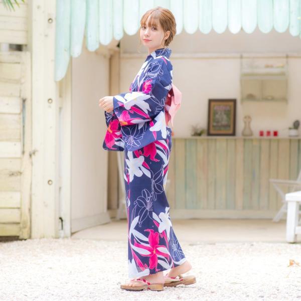浴衣 2018 レトロ レディース 京都本格 女性浴衣4点フルセット(ゆかた・つくり帯・下駄・着付け本) ガーリーレトロ  可愛い レトロ|dita|09