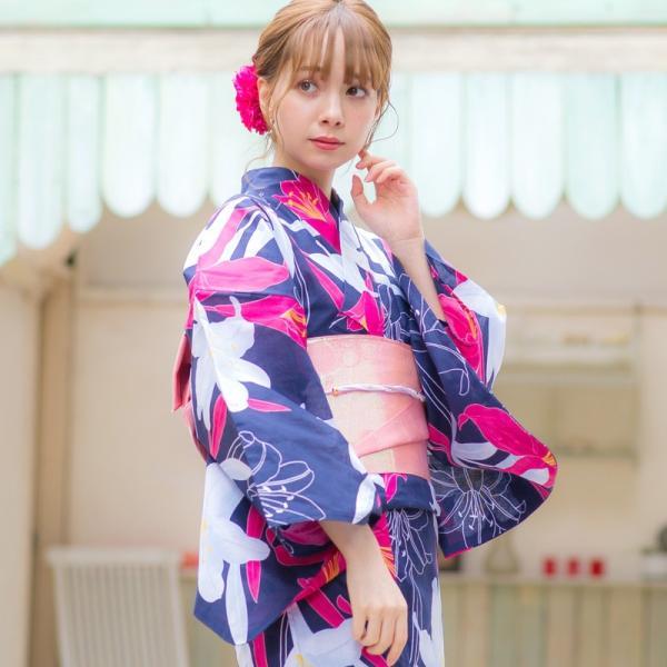 浴衣 2018 レトロ レディース 京都本格 女性浴衣4点フルセット(ゆかた・つくり帯・下駄・着付け本) ガーリーレトロ  可愛い レトロ|dita|10