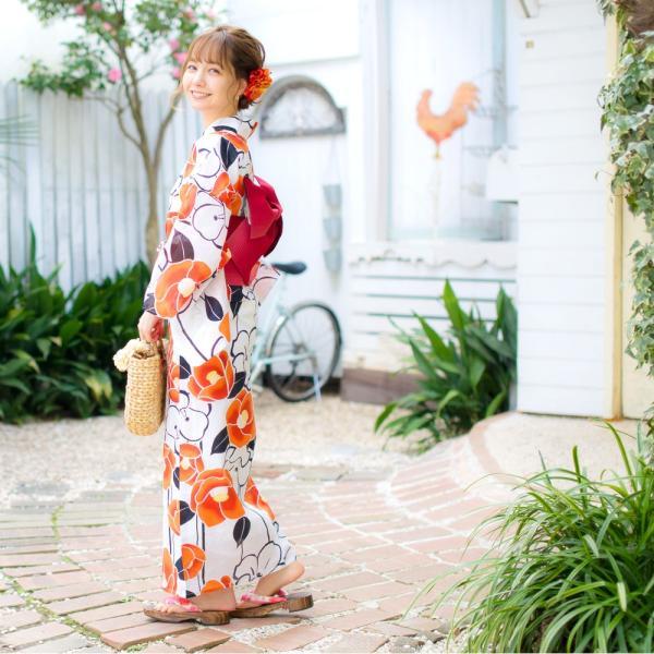 浴衣 セット レディース 浴衣セット(ゆかた・つくり帯・下駄・着付け本)はんなり浴衣4点セット 夏の水彩梅模様 大人 可愛い レトロ 綺麗|dita|12