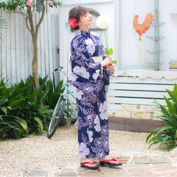 浴衣 セット レディース 浴衣セット(ゆかた・つくり帯・下駄・着付け本)はんなり浴衣4点セット 夏の水彩梅模様 大人 可愛い レトロ 綺麗|dita|07