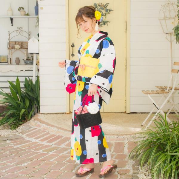 浴衣 セット レディース 浴衣セット(ゆかた・つくり帯・下駄・着付け本)はんなり浴衣4点セット 夏色市松と梅ちらし 大人 可愛い レトロ 綺麗 2018年|dita|11