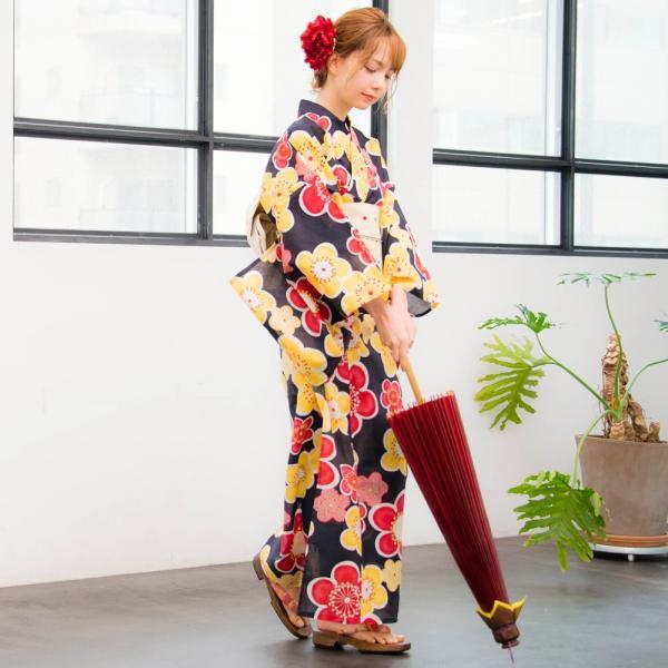 浴衣 セット レディース 浴衣セット(ゆかた・つくり帯・下駄・着付け本)はんなり浴衣4点セット 大正ロマン梅ならべ 初心者もOK 一人で簡単に着られる作り帯|dita|05