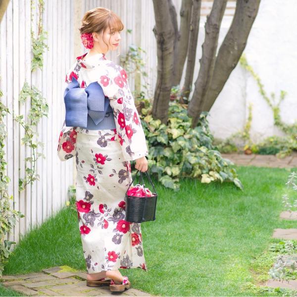 浴衣 2018 レトロ レディース 京都本格 女性浴衣4点フルセット(ゆかた・つくり帯・下駄・着付け本) 夏のガーリーレトロ ひまわり 可愛い|dita|13