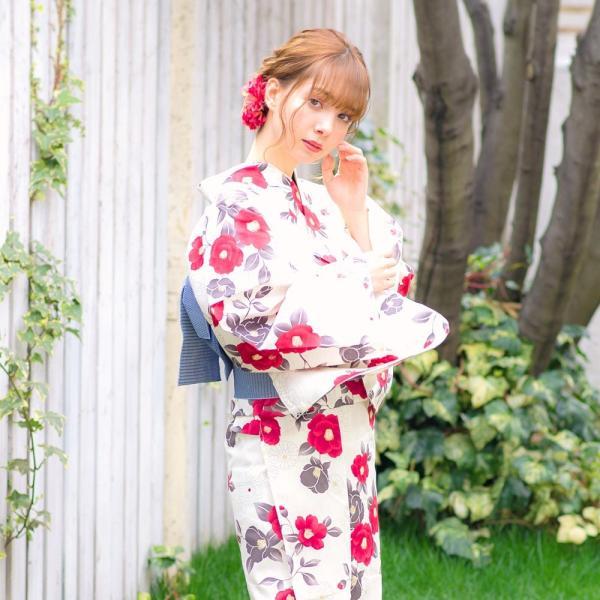 浴衣 2018 レトロ レディース 京都本格 女性浴衣4点フルセット(ゆかた・つくり帯・下駄・着付け本) 夏のガーリーレトロ ひまわり 可愛い|dita|15