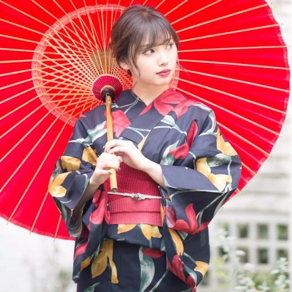 浴衣 2018 レトロ レディース 京都本格 女性浴衣4点フルセット(ゆかた・つくり帯・下駄・着付け本) 夏のガーリーレトロ ひまわり 可愛い|dita|09