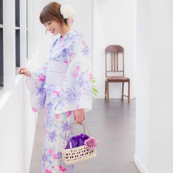 浴衣 セット レディース 浴衣セット(ゆかた・つくり帯・下駄・着付け本)はんなり浴衣4点セット はんなり藤色百合しらべ  一人で簡単に着られる作り帯|dita|05