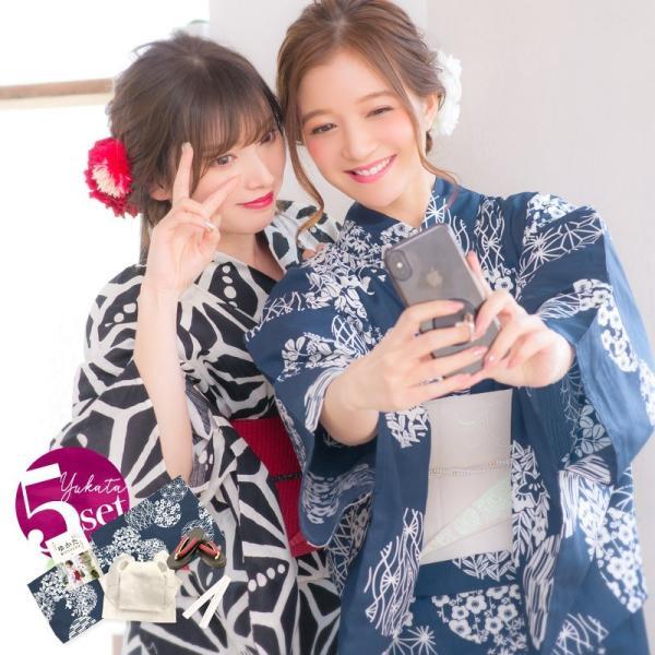 浴衣 2018 レトロ レディース 京都本格 女性浴衣4点フルセット(ゆかた・つくり帯・下駄・着付け本) レトロガーリーポップ 一人で簡単に着られる作り帯|dita