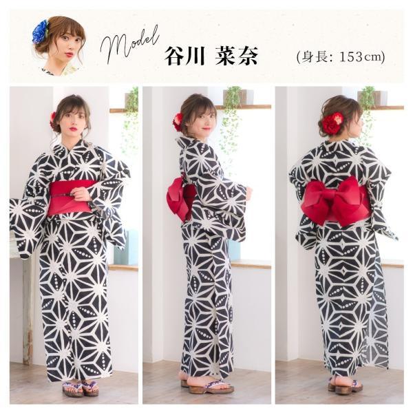浴衣 2018 レトロ レディース 京都本格 女性浴衣4点フルセット(ゆかた・つくり帯・下駄・着付け本) レトロガーリーポップ 一人で簡単に着られる作り帯|dita|11