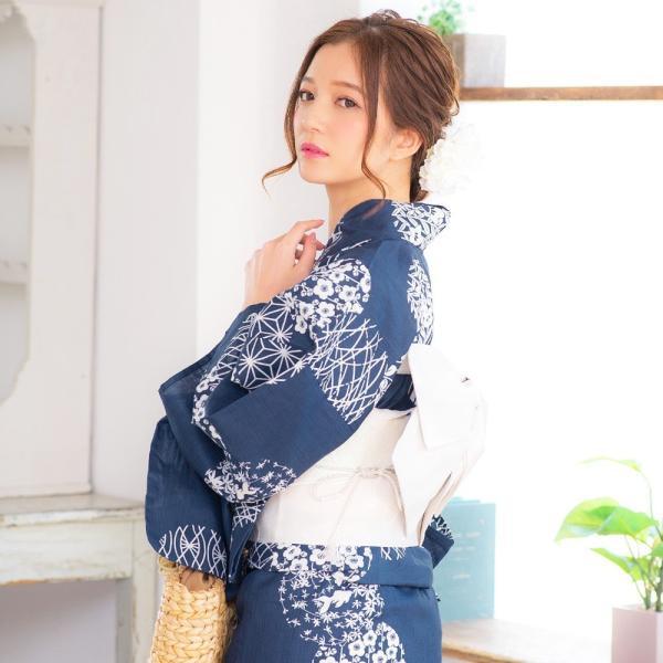 浴衣 2018 レトロ レディース 京都本格 女性浴衣4点フルセット(ゆかた・つくり帯・下駄・着付け本) レトロガーリーポップ 一人で簡単に着られる作り帯|dita|12