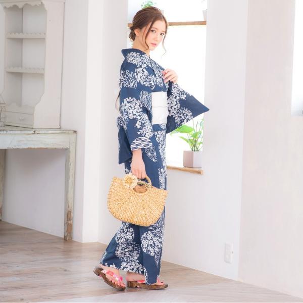 浴衣 2018 レトロ レディース 京都本格 女性浴衣4点フルセット(ゆかた・つくり帯・下駄・着付け本) レトロガーリーポップ 一人で簡単に着られる作り帯|dita|13
