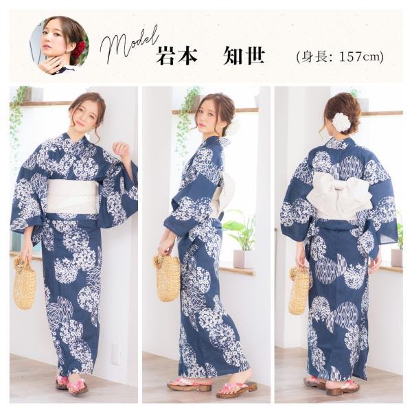 浴衣 2018 レトロ レディース 京都本格 女性浴衣4点フルセット(ゆかた・つくり帯・下駄・着付け本) レトロガーリーポップ 一人で簡単に着られる作り帯|dita|17