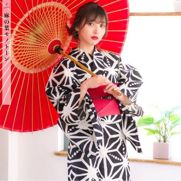 浴衣 2018 レトロ レディース 京都本格 女性浴衣4点フルセット(ゆかた・つくり帯・下駄・着付け本) レトロガーリーポップ 一人で簡単に着られる作り帯|dita|05