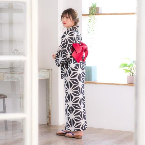 浴衣 2018 レトロ レディース 京都本格 女性浴衣4点フルセット(ゆかた・つくり帯・下駄・着付け本) レトロガーリーポップ 一人で簡単に着られる作り帯|dita|08