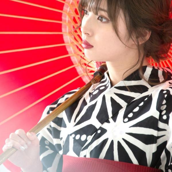 浴衣 2018 レトロ レディース 京都本格 女性浴衣4点フルセット(ゆかた・つくり帯・下駄・着付け本) レトロガーリーポップ 一人で簡単に着られる作り帯|dita|09