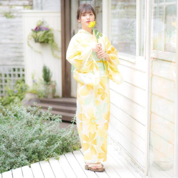 浴衣 2018 レトロ レディース 京都本格 女性浴衣4点フルセット(ゆかた・つくり帯・下駄・着付け本) モダン椿 ツバキ 初心者もOK 一人で簡単に着られる作り帯|dita|12