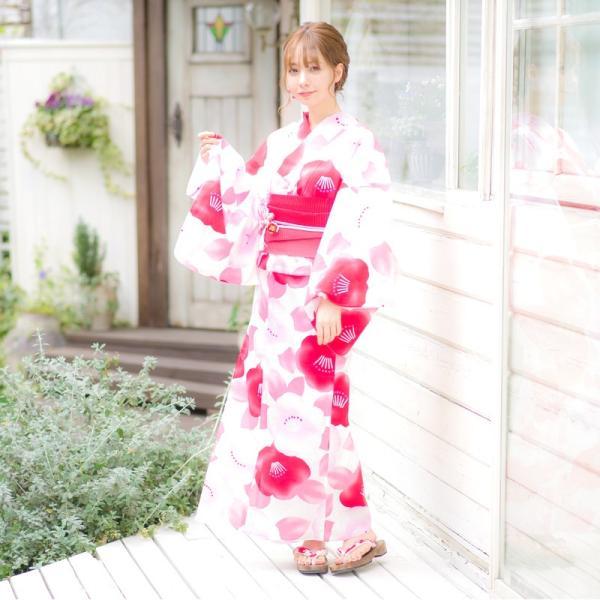 浴衣 2018 レトロ レディース 京都本格 女性浴衣4点フルセット(ゆかた・つくり帯・下駄・着付け本) モダン椿 ツバキ 初心者もOK 一人で簡単に着られる作り帯|dita|07