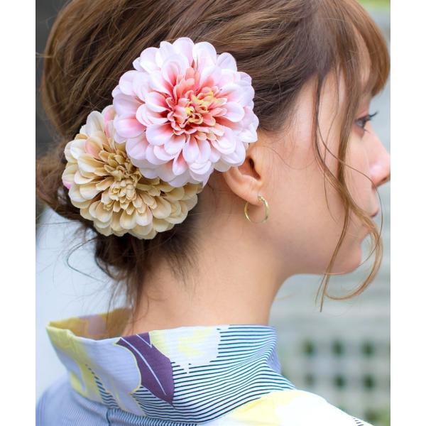 浴衣 髪飾り ピンポンマム 選べる10色 ゆかた姿を引き立てるアクセサリー 選べる10色 可愛い 髪かざり 小物 初心者もOK|dita|10