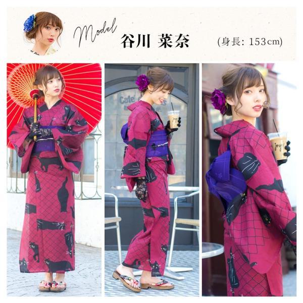 浴衣 新作 2018 京都本格 女性浴衣4点フルセット(ゆかた 作り帯 下駄 着付マニュアル本) お澄ましブラックキャット 初心者もOK 一人で簡単に着られる作り帯|dita|11