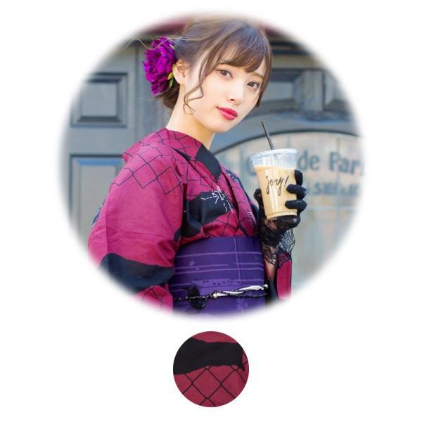 浴衣 新作 2018 京都本格 女性浴衣4点フルセット(ゆかた 作り帯 下駄 着付マニュアル本) お澄ましブラックキャット 初心者もOK 一人で簡単に着られる作り帯|dita|16