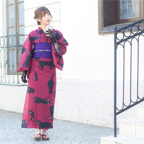 浴衣 新作 2018 京都本格 女性浴衣4点フルセット(ゆかた 作り帯 下駄 着付マニュアル本) お澄ましブラックキャット 初心者もOK 一人で簡単に着られる作り帯|dita|06