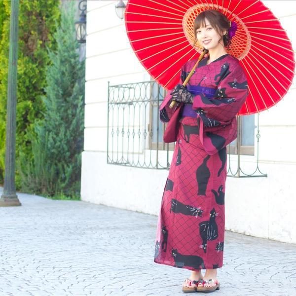 浴衣 新作 2018 京都本格 女性浴衣4点フルセット(ゆかた 作り帯 下駄 着付マニュアル本) お澄ましブラックキャット 初心者もOK 一人で簡単に着られる作り帯|dita|08