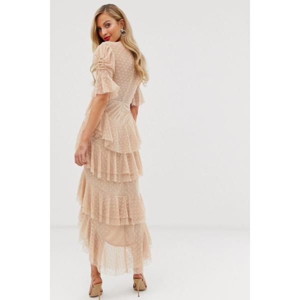 ASOS asos エイソス ミディアムドレス チュール ドット ピンク 小さいサイズあり パーティードレス 大きいサイズあり 30代 40代 結婚式 20代 お呼ばれ 二次会