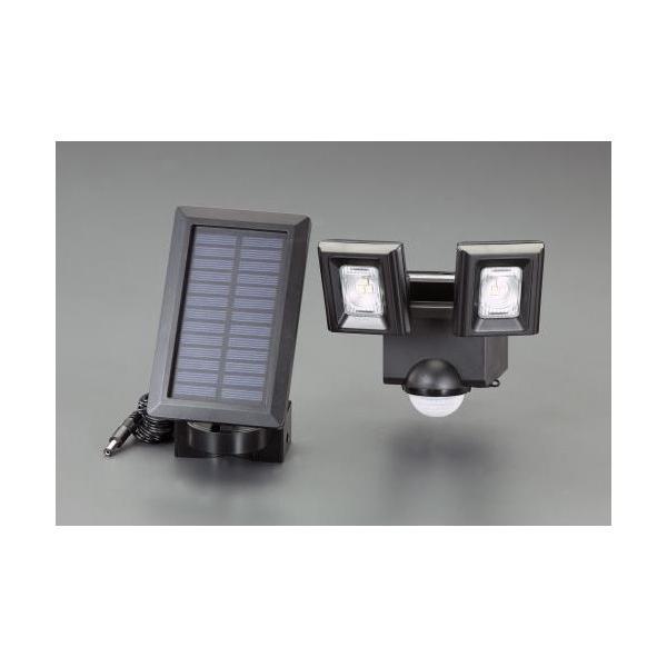 エスコ(esco) 2灯 LEDセンサーライト(ソーラー充電式) EA864CB-44C 1個