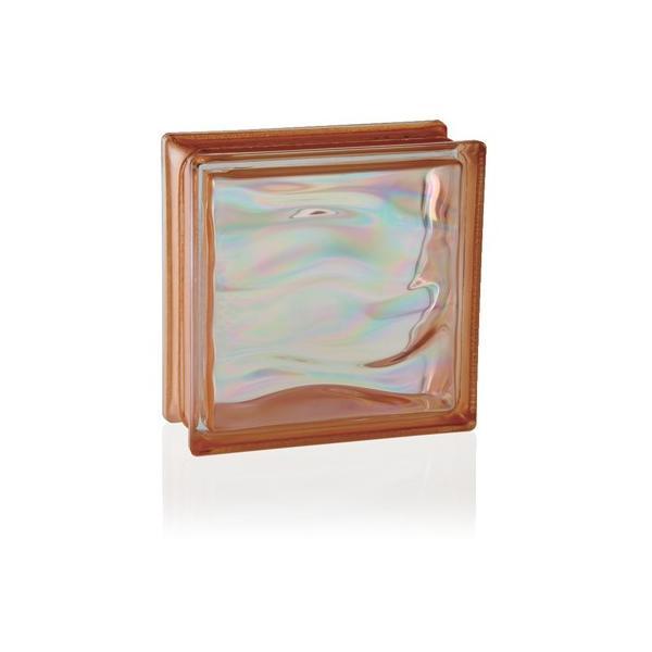 LUMINO GLASS ガラスブロック グラデーションシリーズ ウェービーオレンジ パールオレンジ GR/NARANJA 1個
