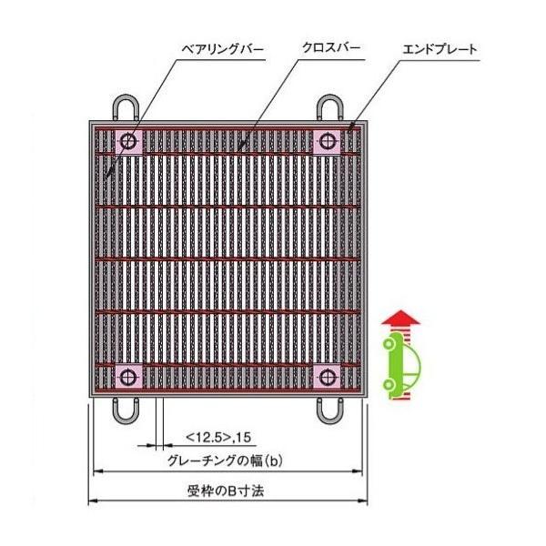 中部コーポレーションボルト固定式細目正方形桝用スチールグレーチングb406×a400×h32mmCXHBBF332-33A