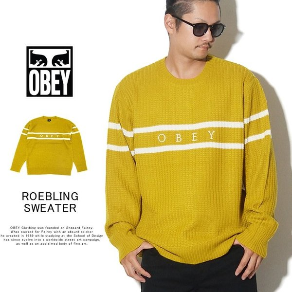 OBEY オベイ クルーネックニット セーター メンズ ROEBLING SWEATER 151000041 2019 秋冬 新作 大きいサイズ|dj-dreams
