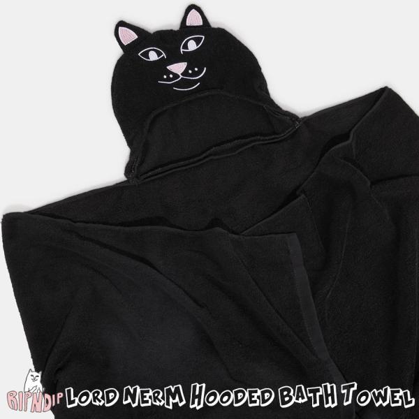 リップンディップ フード付き バスタオル 猫 ネコ かわいい 黒 RIPNDIP RND6126 ブランド 2021秋冬 新作