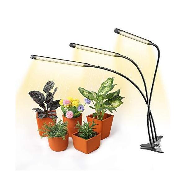 植物育成 ライト 日光色 LED 9W 45LED 定時機能(3H 9H 12H)高輝度 無段階調光 水耕栽培 ランプ 360°調節可能 3ヘッド付き