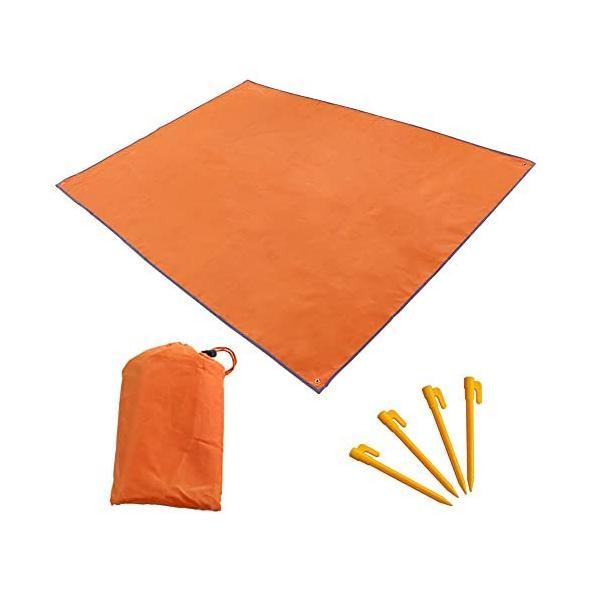 テントシート 防水 レジャーシート グラウンド マット シート 軽量 収納袋付 折畳み キャンプ アウトドア ピクニック オレンジ 210x150cm