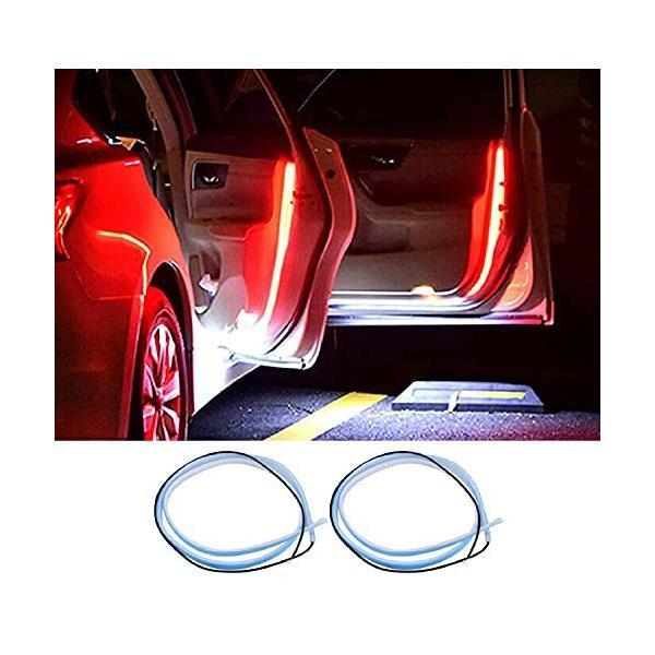 車用 LEDライト ドア警告灯 衝突防止 安全サイドライト ドアランプ 点滅続き 貼付タイプ 耐久性 柔軟 防水 シリコーン 汎用 取付簡単 2PCS