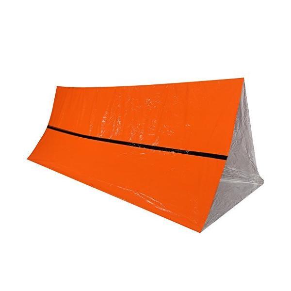 エマージェンシー 簡易 テント & サバイバル ヒートシート 軽量 防水 簡易寝袋 アルミブランケット アウトドア キャンプ 防災 防寒保温 オレンジ