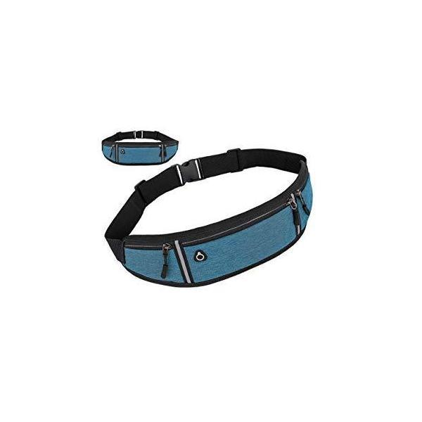 ランニングポーチ スポーツウエストバッグ 独立3ポケット 軽量 伸縮大容量 防水 防汗 イヤホン穴 夜間反射 多機能 (Blue)