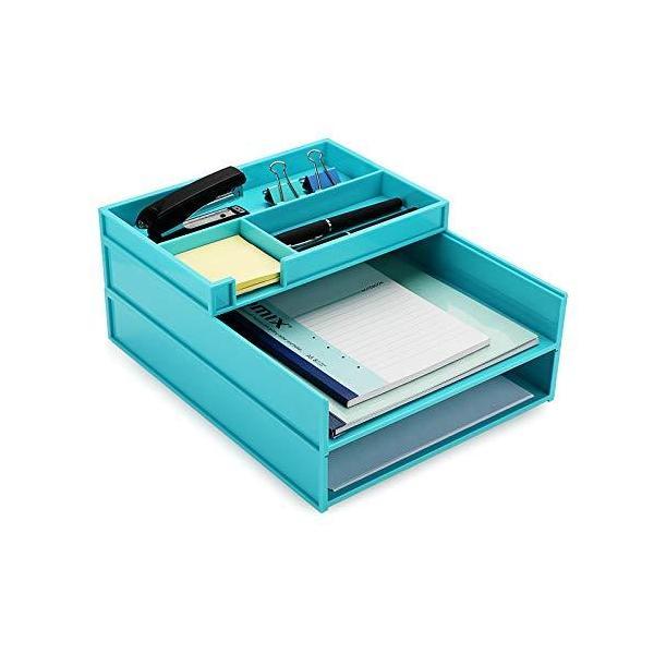 書類トレー レタートレー a4 縦 3段 プラスチック製 レターケース ファイルトレー デスクトレー 卓上収納ラック 自由に組合せ 書類整理 ブルー