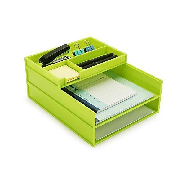 書類トレー レタートレー a4 縦 3段 プラスチック製 レターケース ファイルトレー デスクトレー 卓上収納ラック 自由に組合せ 書類整理 グリーン