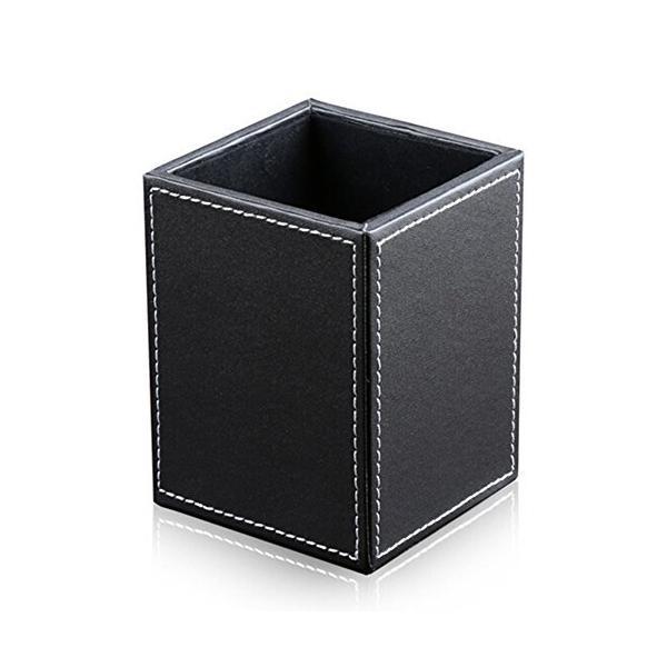KINGFOM PUレザー ペン鉛筆ホルダー デスクオーガナイザー ペン立て 文具収納ボックス 小物収納ケース 卓上収納 自宅/オフィス用 ブラック