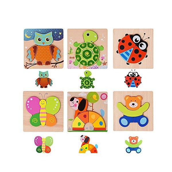 木製 ジグソー パズル モンテッソーリ教育 おもちゃ 色・形認知スキル 教育・学習玩具 6種類 かわいい 動物パズル 木製パズル 男女子供 6歳以上