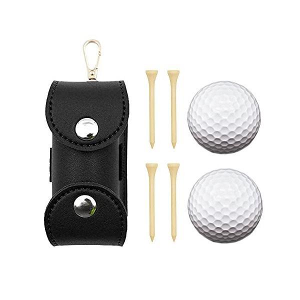 Sitengle ゴルフボールケース 2個入れ用 PU革ゴルフボールホルダー ゴルフティーケース 軽量 (ブラック)
