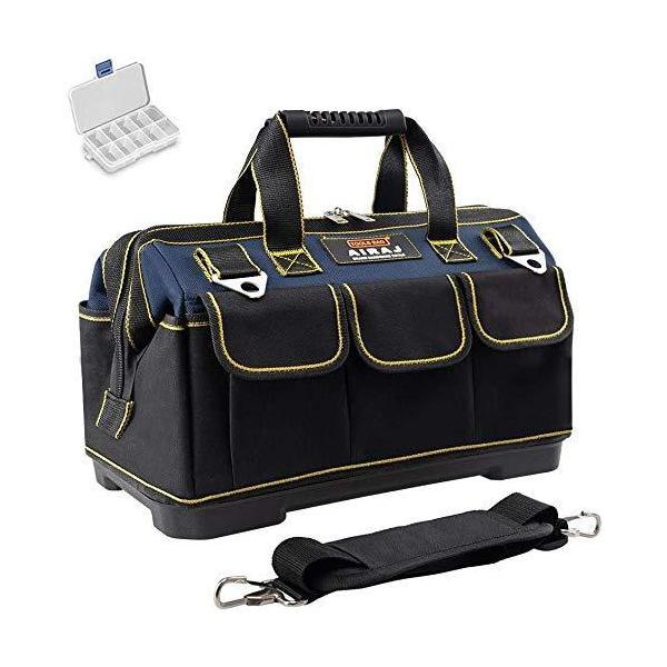 AIRAJツールバッグ 防水ポータブル道具袋 ?化底工具バッグ 調節可能なショルダーストラップとミニパーツボックス付き 開口部36cm