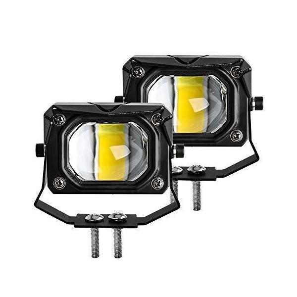 バイク LED フォグ 補助ライト 最新型 2色切替 フォグランプ 車外灯 オートバイ 機械 自動車 トラック 汎用 作業灯 ワークライト 2個