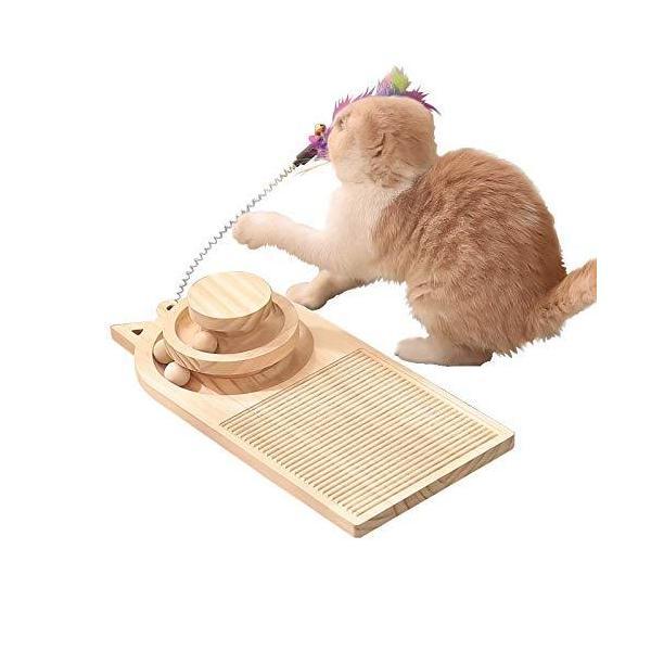 2021最新 猫用おもちゃ 3層回転盤 ボール 木製 猫じゃらし ぐるぐるタワー 猫木 猫 爪研ぎ 猫タワー 室内 運動不足 ストレス解消 ナチュラル