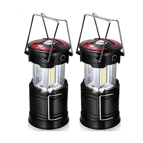 2個の充電式キャンプ用ランタン、バッテリー内蔵LEDランタン懐中電灯、4つの照明モード、屋外に最適、緊急、ハイキング、ハリケーン、停電